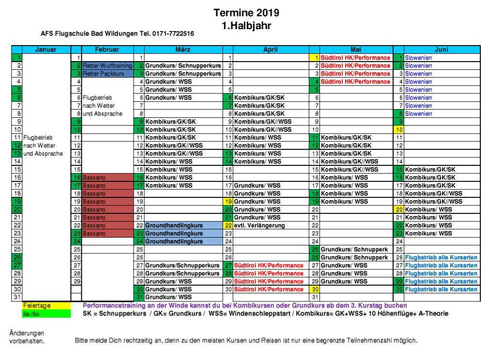 Kalender 2016 - 1. Halbjahr